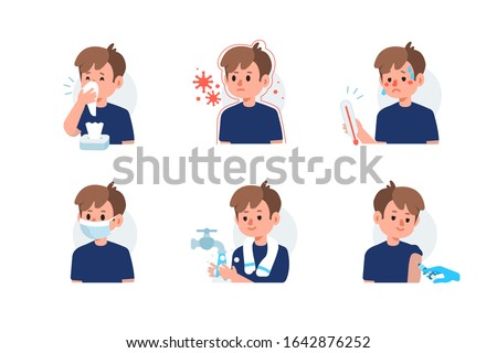 Flu Disease Symptoms and Prevention against Virus and Infection. Character has Respiratory Illness and using  Medical Mask, Tissue for Sneezing, making Vaccination. Flat Cartoon Vector Illustration.