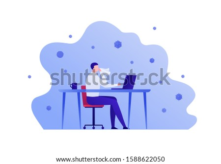 Flu illness concept. Vector flat person illustration. Business ill man at office table, laptop and hot cup isolated on white. Design elements for medicine banner, poster, background, web, infographic.