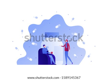 Flu illness concept. Vector flat person illustration. Ill man in sofa with hot drink and female medical bottle of pill. Design elements for medicine banner, poster, background, web, infographic.