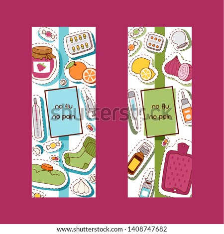 Flu pattern vector sick character with fever and illness and sneezing nose illustration backdrop sticker set of sickness and medical treatment signs with medicines background.