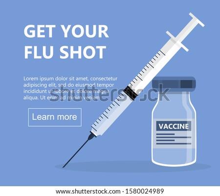 flu shot concept om the blue