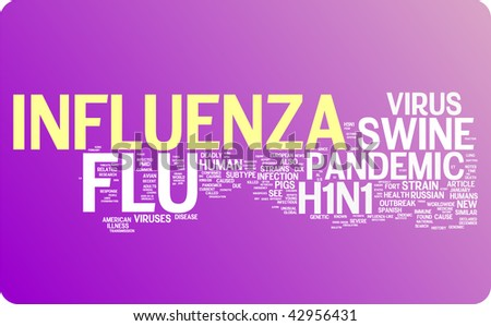 Flu word cloud illustration. Graphic tag collection