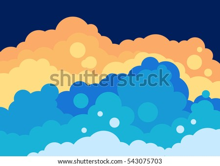 fluffy clouds landscape vector