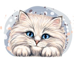 Fluffy kitten. Wall sticker. Color, artistic, portrait of a happy, fluffy kitten in watercolor style on a white background. Digital vector drawing