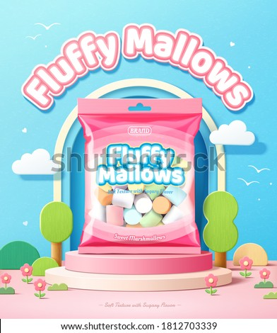 Fluffy marshmallows promo ad in 3d illustration, package of marshmallows over a podium with tree design elements against blue sky