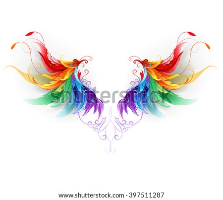 fluffy rainbow wings on white