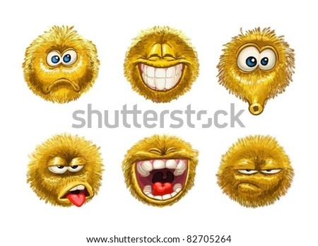 fluffy smiles Emotion Faces on white