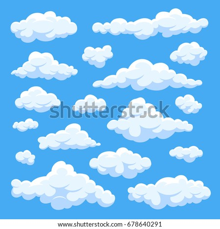 Fluffy white cartoon clouds in blue sky vector set. Cloudy day heaven. Cartoon cloudy fluffy illustration