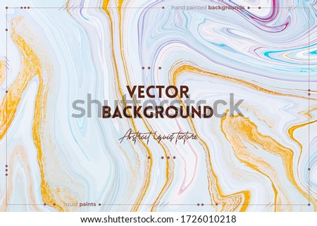 Fluid art texture. Backdrop with abstract mixing paint effect. Liquid acrylic picture that flows and splashes. Mixed paints for background or poster. White, blue and golden overflowing colors