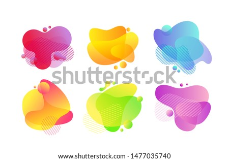 Fluid bubbles abstract illustrations set. Lava lamp, gradient splashes.