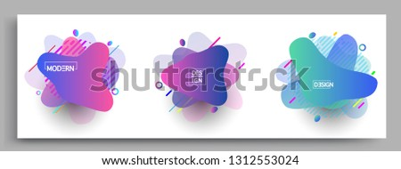 Fluid color badges set, abstract geometric shapes. Fluid gradient elements for minimal banner, logo, social post. Futuristic trendy dynamic elements. Abstract background. #1312553024