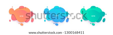 Fluid color set. Liquid gradient forms, Isolated gradient waves with splash, Abstract shapes composition.Dynamic  Flowing Fluid design for logo, flyers or presentstion Eps10 vector. #1300168411