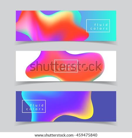 fluid colors banners set eps10