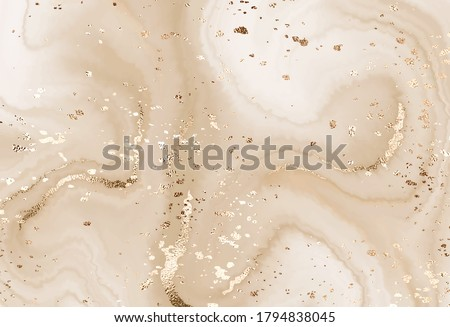 Fluid marble canvas abstract painting background with gold dust texture.  Stockfoto ©