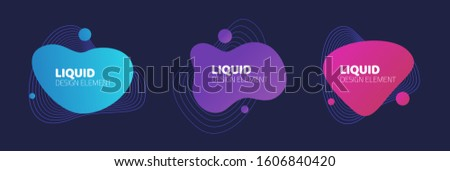 Fluid or liquid graphic graphic element design vector on dark background for flyer or presentation template, gradient abstract geometric shapes for trendy text, wavy splash and curvy backdrop