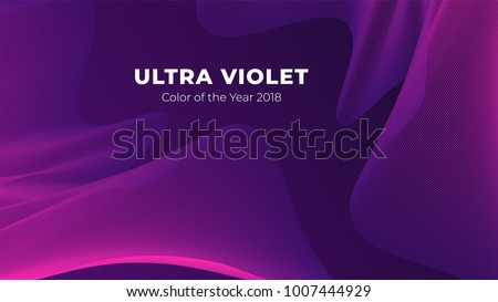 Fluid poster cover with modern ultraviolet color. Dark purple abstract geometrical template with blend shapes.