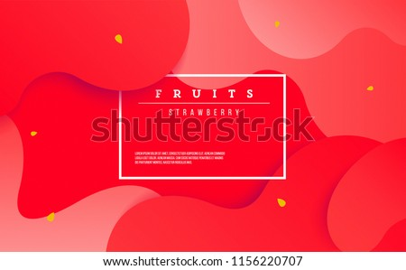 Fluid red poster. dynamic elements with Strawberry concept. frame and place for text.