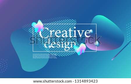 Fluid shapes composition. Wavy abstract cover design. Creative colorful wallpaper. Trendy gradient poster. Vector illustration. #1314893423