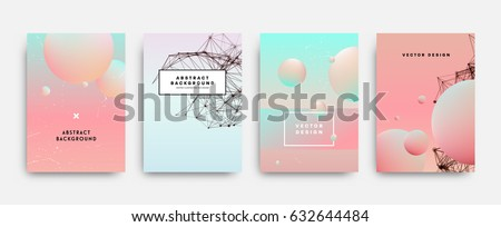 Fluid shapes poster covers set with modern hipster and memphis background colors. Vector templates for placards, banners, flyers, presentations and reports.