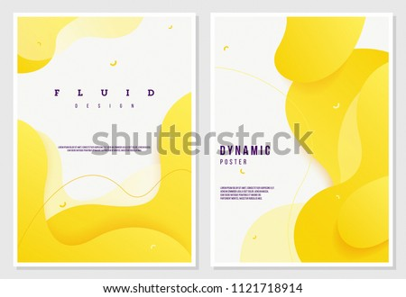 Fluid style poster set. creative dynamic 3D shapes on light background. ideal for party, banner, cover, print, promotion, greeting, ad, web, page, header, landing, social media.