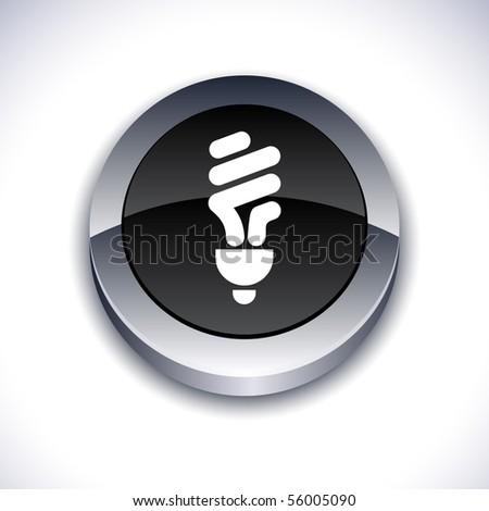 Fluorescent bulb metallic 3d vibrant round icon.