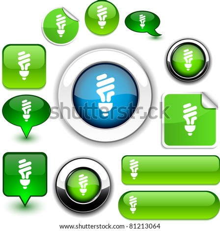 Fluorescent bulb vector glossy icons.