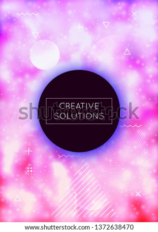 Fluorescent cover with liquid neon shapes. Purple fluid. Luminous background with bauhaus gradient. Graphic template for brochure, banner, wallpaper, mobile screen. Shiny fluorescent cover.