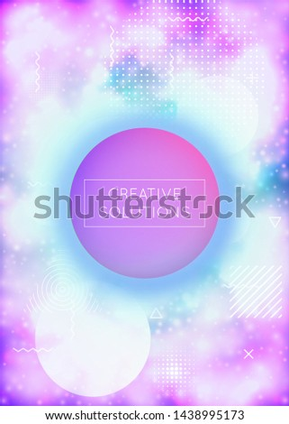 Fluorescent cover with liquid neon shapes. Purple fluid. Luminous background with bauhaus gradient. Graphic template for placard, presentation, banner, brochure. Vibrant fluorescent cover.