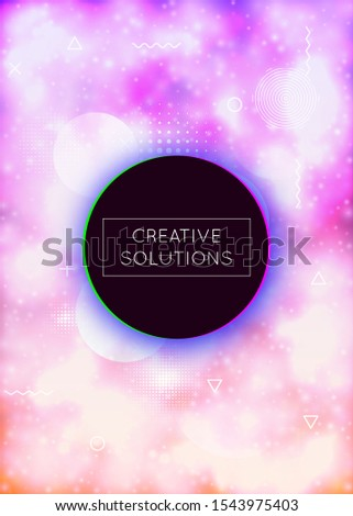 Fluorescent cover with liquid neon shapes. Purple fluid. Luminous background with bauhaus gradient. Graphic template for placard, presentation, banner, brochure. Stylish fluorescent cover.