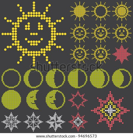 fluorescent dot-based astronomical icons and symbols set with sun. moon and stars for control screens and web design. more icons are available. vector illustration