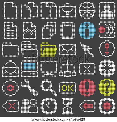 fluorescent dot-based icons and signs big set for control screens and web design. more icons are available. vector illustration