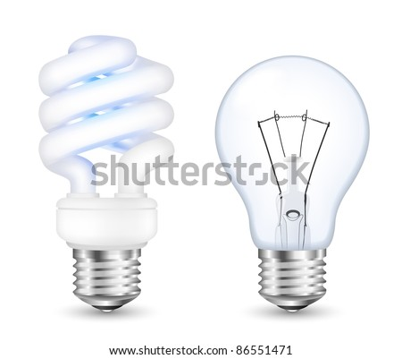 Fluorescent energy saving and incandescent light bulbs. Vector