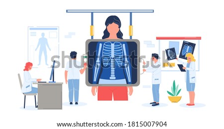 Fluorography exam of patient female in hospital flat vector illustration. Doctor, medical professional doing fluorography or chest xray screening. Roentgen photography, chest radiography, lungs health Stock fotó ©
