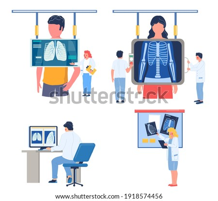 Fluorography lungs checkup procedure set, flat vector illustration. Doctor radiologist doing fluorography or chest xray screening, analysing fluoroscopy images. Roentgen photography, chest radiography Stock fotó ©
