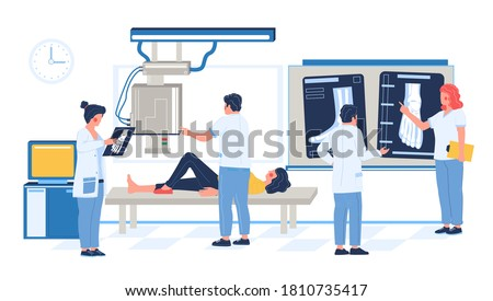 Fluoroscopy exam in hospital, clinic, flat vector illustration. Patient woman lying on medical table, xray machine taking image of broken leg, doctors looking at xray pictures. Bone fracture, injury. Foto stock ©