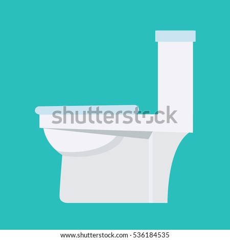 Flush toilet vector icon. Sanitation procelain fixture symbol with white seat and bowl. Plumbing equipment sign.