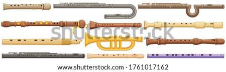 Flute isolated cartoon set icon. Vector illustration music instrument on white background. Vector cartoon set icon flute. ストックフォト ©