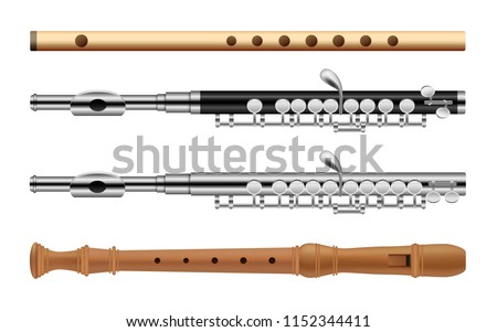 Flute musical instrument krishna music icons set. Flat illustration of 4 flute instrument krishna music vector icons for web