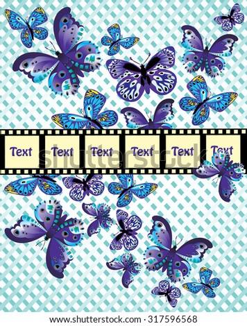 fluttering blue butterfly on