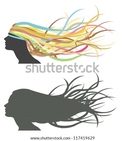Fluttering hair on woman dummy. Silhouette and colorful version.
