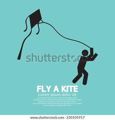 fly a kite black graphic symbol