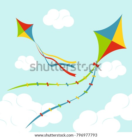 fly color kites surfing in sky