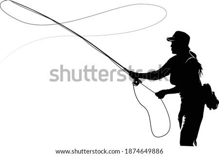 Fly fisherman fishing.clip art black fishing on white background - Vector Сток-фото ©