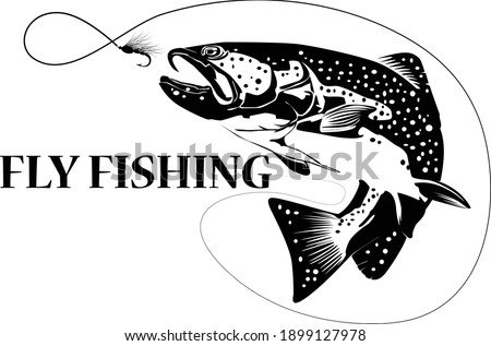 Fly fisherman fishing.graphic fly fishing.clip art black fishing on white background - Vector Сток-фото ©