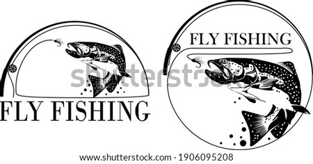 Fly fisherman fishing.graphic fly fishing.clip art black fishing on white background - Vector