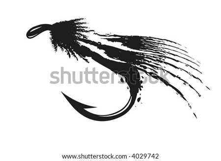 Fly-fishing on white background