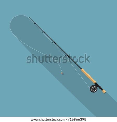 Fly fishing rod vector illustration. #716966398