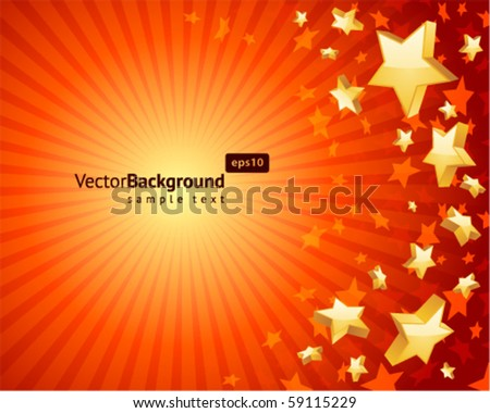 Fly gold stars vector background background