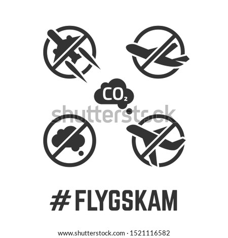 fly gskam icon with flygskam or