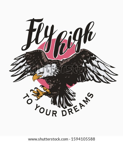 fly high slogan with eagle flying on the sun background illustration Foto stock ©